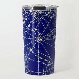 Constellation Stars blue space map on gold marble Travel Mug
