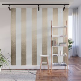 Simply Vertical Stripes in White Gold Sands Wall Mural
