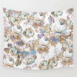 Vintage blush lavender brown teal blue roses floral Wall Tapestry