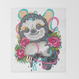 Happy Sloth Throw Blanket