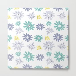 teal, blue, yellow and grey flowers Metal Print