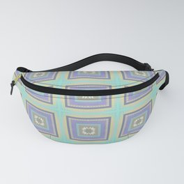 PLACID mint green and mauve squares pattern Fanny Pack