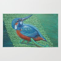 garfield Area & Throw Rugs featuring Kingfisher & Code (I KNOW It Means SOMEthing...) by Michael Garfield