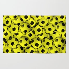 Field of Yellow Soccer Balls Rug