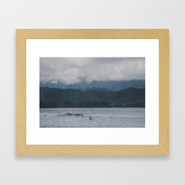 Lone Surfer - Hanalei Bay - Kauai, Hawaii Framed Art Print