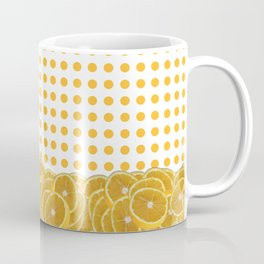 Orange polkadot wrap around with orange fruit slices Coffee Mug