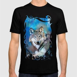 Blue Wolf Wildlife Mixed Media Art T-shirt