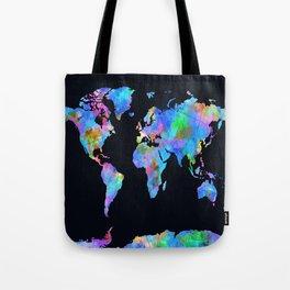 world map watercolor black Tote Bag