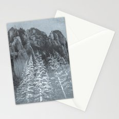 Mountains and Forest - Black and White Trees at the Peak Stationery Cards