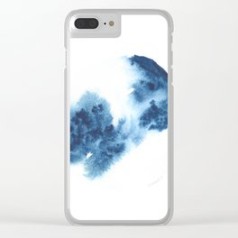 Watercolor Circle Abstract Simple | Blue Blob May 35 Clear iPhone Case