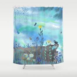 Blue Garden I Shower Curtain