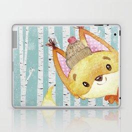 Winter Woodland Friends Fox Snowy Forest Illustration Laptop & iPad Skin