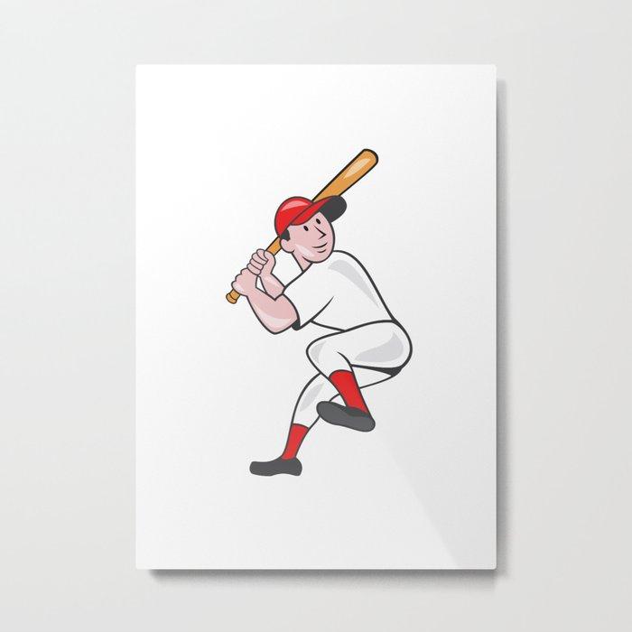 Baseball Player Batting Leg Up Cartoon Metal Print