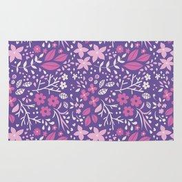Floral doodles in pink and violet Rug