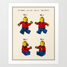 Lego Man Patent - Colour (v3) Art Print