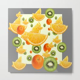 ORANGES & KIWI FRUIT GREY COLLAGE Metal Print