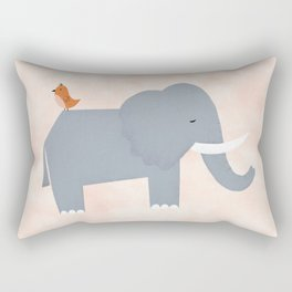 Elephant and Birdie Rectangular Pillow