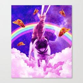 Cosmic Cat Riding Unicorn Pug Canvas Print