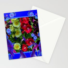 HOLLYHOCKS & MORNING GLORIES COTTAGE BLUE ART Stationery Cards