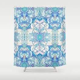 Teal Blue, Pearl & Pink Floral Pattern Shower Curtain