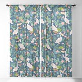 Floral Pelican Sheer Curtain