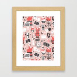 Modern farmhouse coffee station // pink Framed Art Print