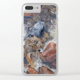 River rocks and rushing water Clear iPhone Case