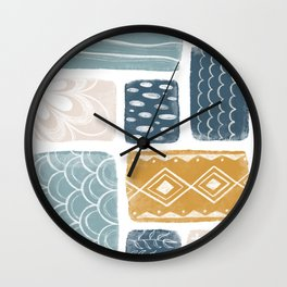 Blue Mustard Colour Retro Collage Pattern Wall Clock