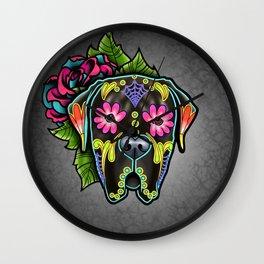 Mastiff in Brindle - Day of the Dead Sugar Skull Dog Wall Clock