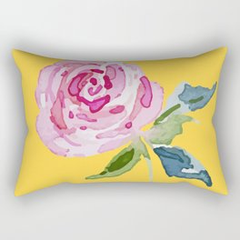 Watercolor Rose Rectangular Pillow