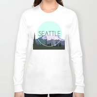 seattle Long Sleeve T-shirts featuring SEATTLE by Lauren Jane Peterson