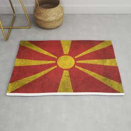 Old and Worn Distressed Vintage Flag of Macedonia Rug