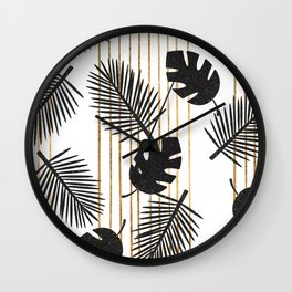 chic black glitter palms on white with golden stripes Wall Clock