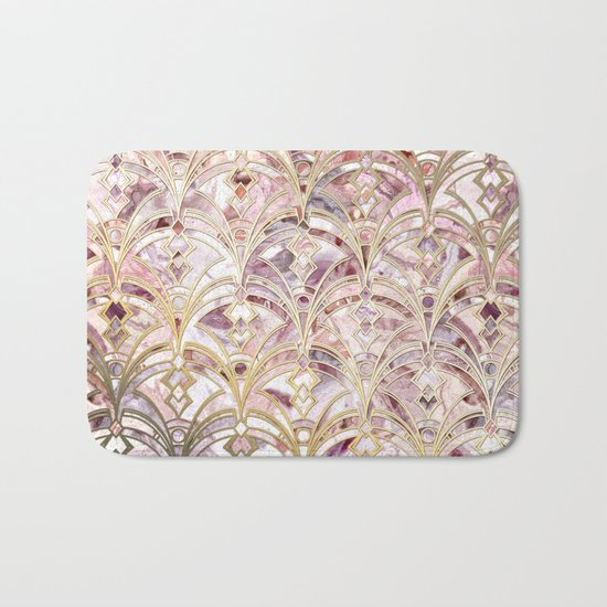 Dusty Rose and Coral Art Deco Marbling Pattern Bath Mat