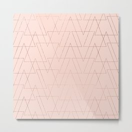 modern rose gold geometric thin triangles blush pink abstract pattern Metal Print