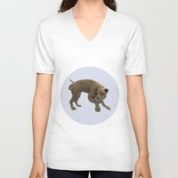 hunting V-neck T-shirts featuring Hunting Lioness by Design Windmill
