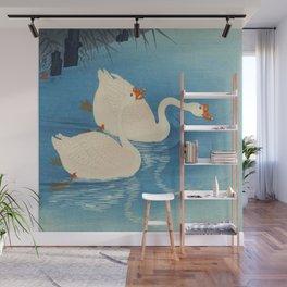 Ohara Shoson Koson Two Swimming Geese Japanese Woodblock Print Vintage Historical Japanese Art Wall Mural