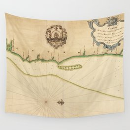 Vintage Map of Costa Rican Coastline (1758) Wall Tapestry