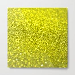 Bright Yellow Glitter Metal Print