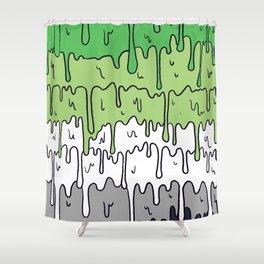 Cute Pride Pastel Melting Pride Design, Aromantic flag Shower Curtain