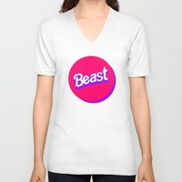 beast V-neck T-shirts featuring Beast by Heretical
