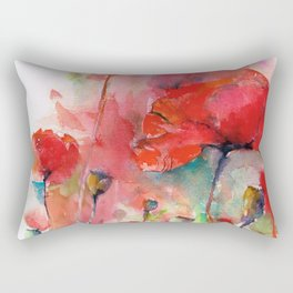 poppies aquarel watercolor wall art Rectangular Pillow