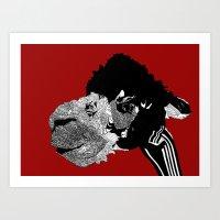 alpaca Art Prints featuring Alpaca by caseysplace