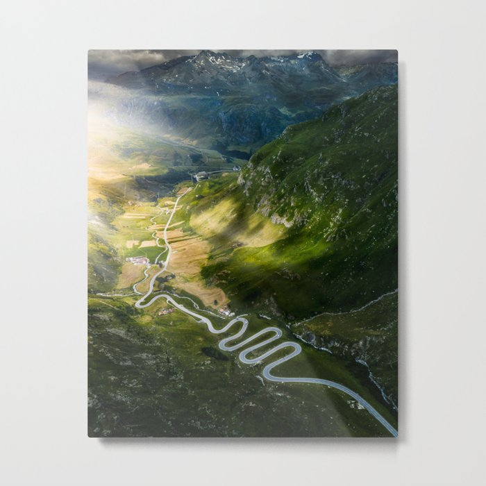 Winding roads in Switzerland Metal Print