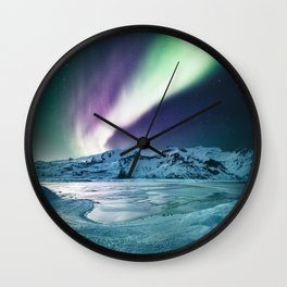 aurora in iceland Wall Clock