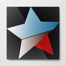 Ombre blue red star on black background Metal Print