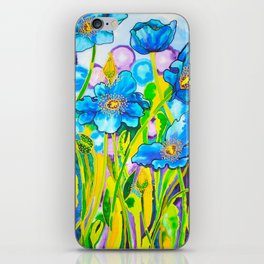 Blue Poppies 2 iPhone Skin