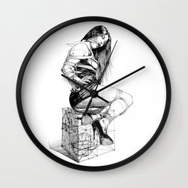 Lady on Cube. Wall Clock