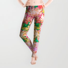 Cactus Fall - Pink and Green Leggings