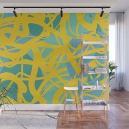 Yellow Green Acqua Abstract Organic Pattern Desig Wall Mural